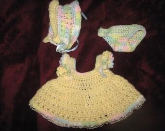 Crochet Doll Dress, Hat and Panties