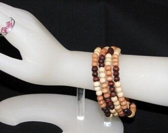 Wood Bead Memory Wire Bracelet