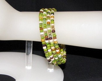 Multi-colored Czech Glass Memory Wire Bracelet