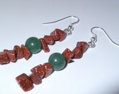 Sun Sitara Goldstone Earrings Glittery Chip and Green Sphere Genuine Gemstone brown and jade green
