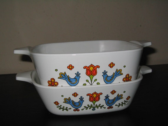 Vintage Corning Ware 1970s Country Festival Mini Casserole Dish LOT 1 3/4 Cup 2 3/4 Cup birds farmhouse country cottage 70s