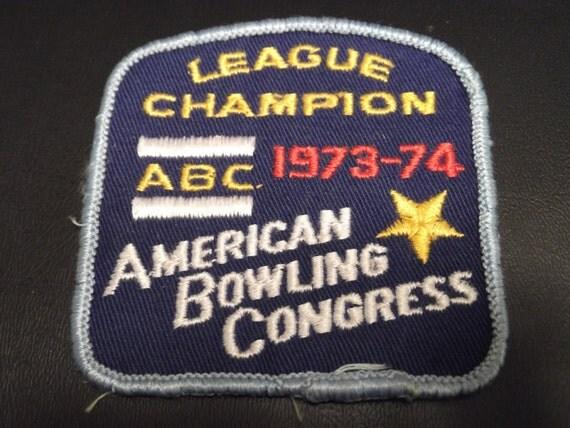 Vintage Bowling Patch  1973-1974 League Champion American Bowling Congress ABC Award