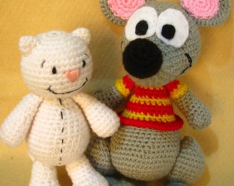 Toopy and Binoo inspired dolls cat and mouse - PDF Amigurumi pattern