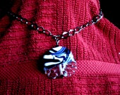 Lampwork  Focal Bead  Necklace  / Zebra Abstract