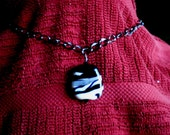 Lampwork Focal Bead Necklace - Zebra Abstract