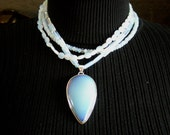 Sale Opalite Necklace / Muti Strand / Quartz - Reflections-