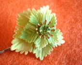 Hair Pin / Altered Vintage Leaf / Bobbie Pin / Green Celluloid - On Sale