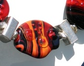 Lampwork Necklace / Sterling  Silver/  Set Fire