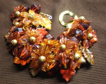 Vintage Charm Bracelet / Repurposed Flower and Leafs - Beauty Of Autumn
