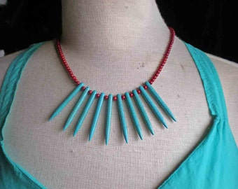 Turquoise  Spike / Glass Beaded Necklace