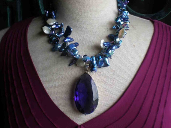Mother Of Pearl - Freshwater  Pearls - Amethyst Sterling Silver Pendant Necklace - On Sale