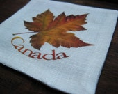 PASTEL Maple and Canada Linen coasters with unique hidden stitch set of 2