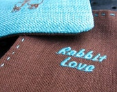 Rabbit Love Cotton Coasters  ( Turquoise  - brown )