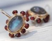 Special Reserved for LISA - Labradorite Earrings, Garnet Labradorite Mandala earrings, handmade jewelry, Blue, Red, FOR HER