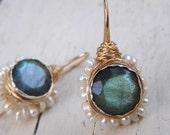 Bridal Wedding Earrings, Labradorite Pearl Flower Earrings, Labradorite Jewelry, Wedding Earrings, June Birthstone, Gemstone Earrings
