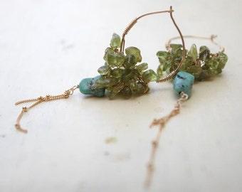 Peridot Earrings, Peridot August Birthstone, Peridot Gypsy Earrings, Green Jewelry, Turquoise Earrings, Cluster Earrings, Gypsy Jewelry