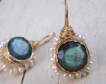 Bridal Earrings, Wedding Earrings, Labradorite Earrings, Pearl Flower Earrings, Labradorite Jewelry, June Birthstone, Gemstone Earrings