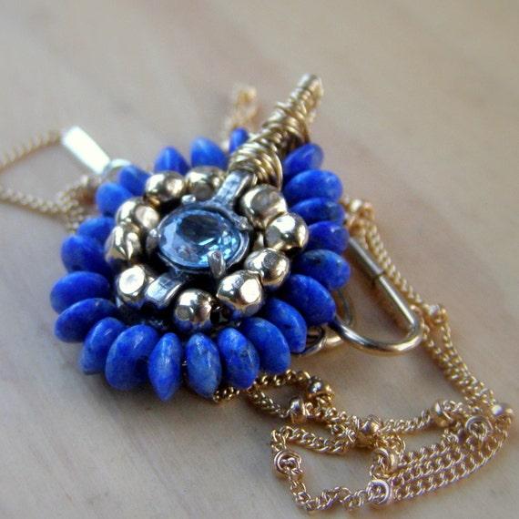 Blue Cubic Zirconia, Blue Jewelry, Handmade Jewelry, Blue Cubic Zirconia Mandala Necklace, December Birthstone