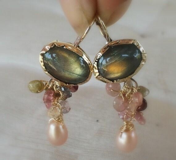 Gold Earrings, Dangle Earrings, Labradorite Tourmaline Earrings, Solid Gold Earrings, Green Gold Earrings, Labradorite Jewelry