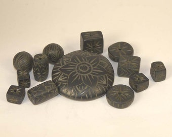 Half Price Sale - 13 Black Ancient Hand Carved Clay Beads