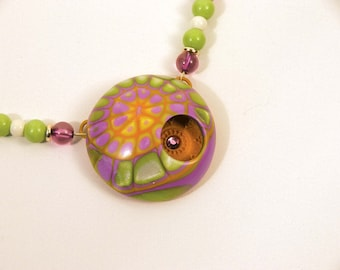 Lime Pink Web  with hidden sparkle - necklace set