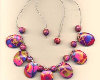 Hot Pink IRIS Web necklace