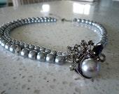 Gunmetal Pearl Brooch Necklace