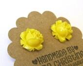 Summery Bright Yellow Flower Post Earrings