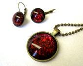 True Blood Inspired Shimmer Glitter Pendant Necklace and Earrings