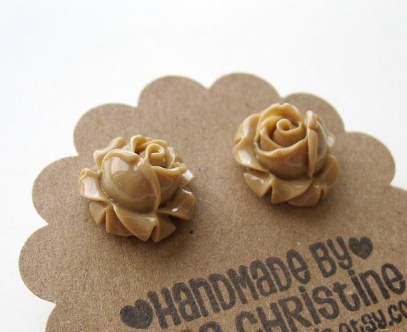 Light Brown Flower Earrings