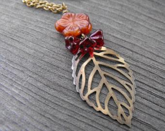 Spicy orange and red flower and leaf necklace