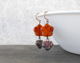 Harvest Spice flower and leaf earrings