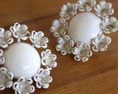 Vintage White Flower Earrings Cream Wedding