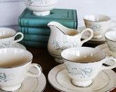 Vintage Tea Cup Set Flowers Light Blue by LeeLeescloset on Etsy