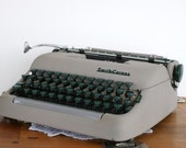 Vintage Smith Corona 1950 Typewriter Grey Industrial Mad Men