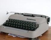 Vintage Smith Corona 1950 Typewriter Grey Industrial Mad Men