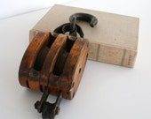 Vintage Wood & Cast Iron Double Pulley Industrial Farmhouse Decor by Leeleescloset on Etsy