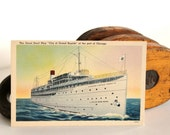 Vintage Steam Ship Nautical Ocean Blue Sea Travel Vacation Destination Postcard