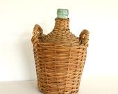 Vintage Demijohn Bottle Wicker Wine Basket Shabby Chic by LeeLeesCloset