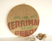 Vintage Burlap Grain Under 50 Feed Bag Embroidery Hoop Rustic Farmhouse by LeeLeescloset on Etsy