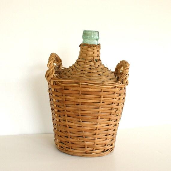 Items similar to Vintage Demijohn Bottle Wicker Wine ...