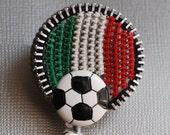 Viva Italy Soccer Vintage Zipper Badge Reel