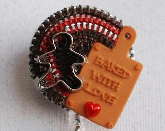 Gingerbread Love Vintage Zipper ID Badge Reel