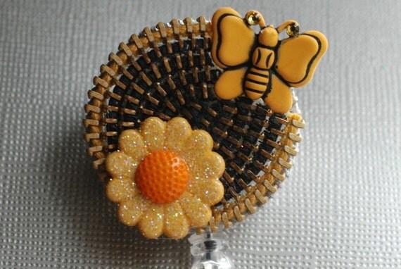 Spring Has Sprung Vintage Zipper Retractable ID Badge Reel