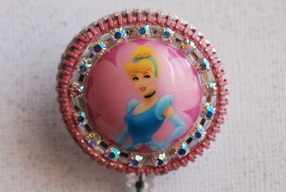 Cinderella Vintage Zipper ID Badge Reel