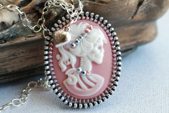 Skelton Girl In Pink Vintage Zipper Pendant Necklace