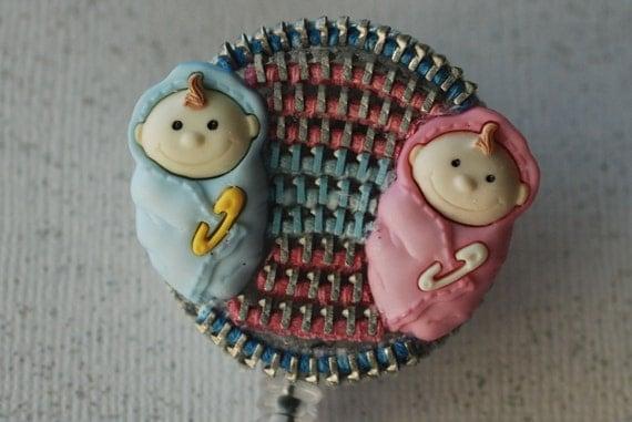 Twins For A Pediatric Nurse Vintage Zipper ID Badge Reel