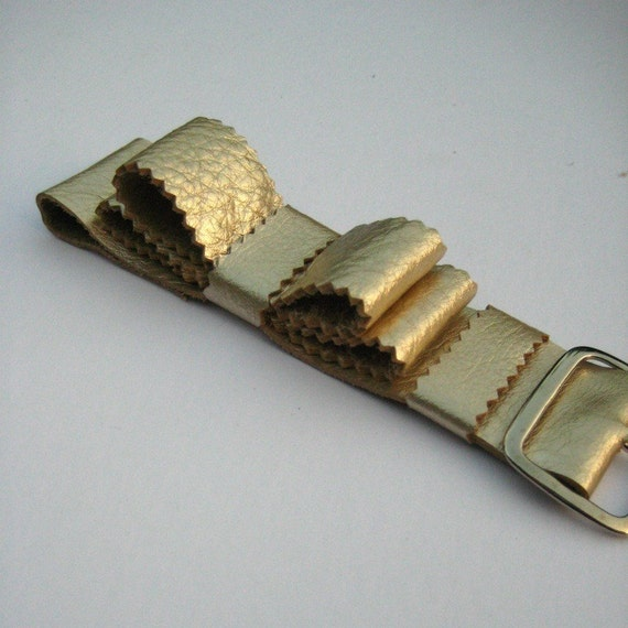 Pearlescent Gold Leather Bowtie Bracelet