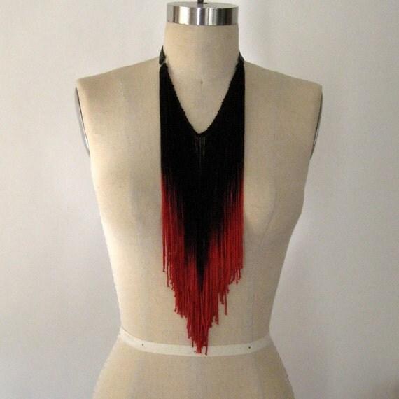 Crimson Red Fringe Necklace