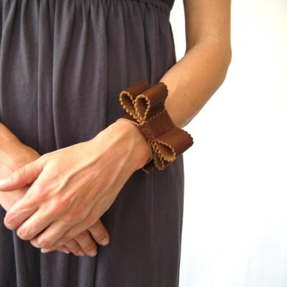 Soft cognac brown leather double bow tie cuff bracelet